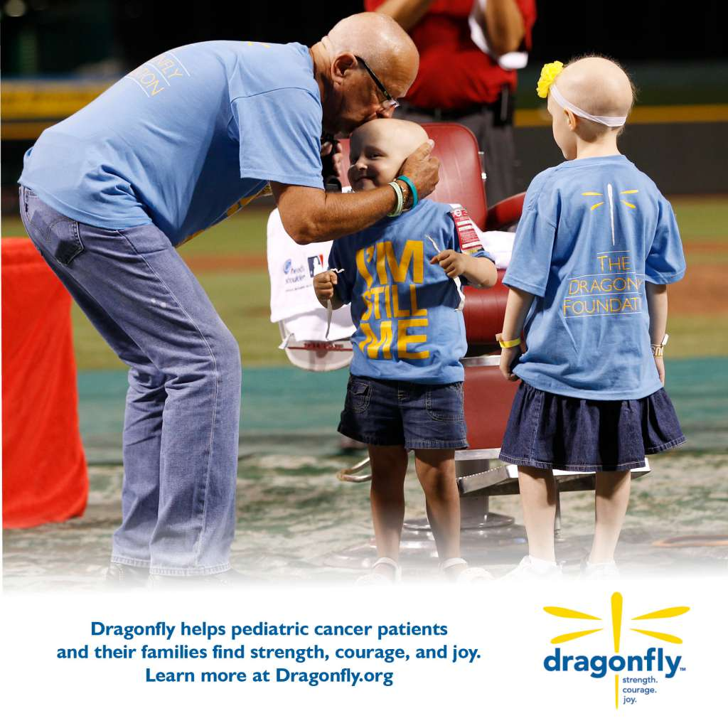 Marty Brennaman meets the Dragonfly kids at Great American Ballpark in 2012